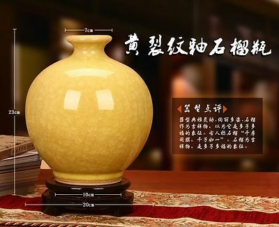 Beautiful Archaize Chinese Porcelain Yellow Guanware Crack Glaze Vase • CAD $187.74