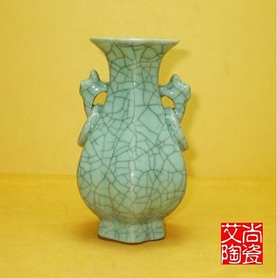 Superb Chinese Archaize Jun Porcelain Handmade Cutting Binaural Vase N