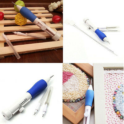 3 Size Sewing Embroidery Stitching Punch Needle Craft Tool 2 Threader Guide DIY