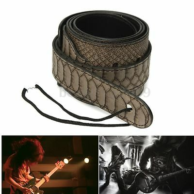 Adjustable Electric Guitar Strap Bass Thick Leather Python Skin Pattern Belt