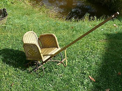 Antique Orig. ca.1900 Heywood Wakefield Wicker CHILD'S CHARIOT STYLE PULL CHAIR