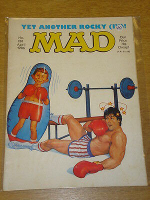 Mad Magazine #288 1986 Apr Vg Thorpe And Porter Uk Magazine Rocky Stallone