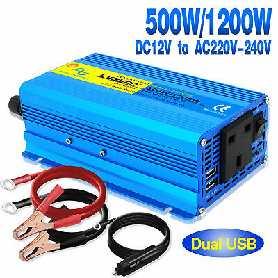 500W / 1200W converter pure sine wave power inverter DC 12v to AC 220V - 240V