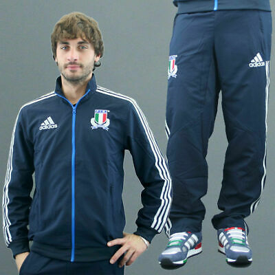 Adidas Mens Italian Italy Rugby FIR Official Full Presentation Knitted Tracksuit