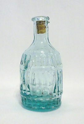 "Vintage ROOT BITTERS Small Miniature 3"" Blue/Green Glass Corked BOTTLE Barrel"
