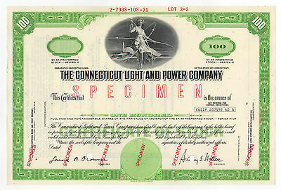 SPECIMEN - The Connecticut Light and Power Company Stock Certificate