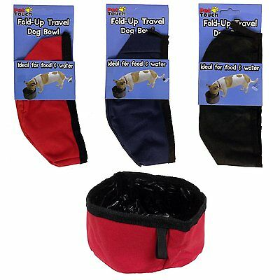 Fold Up Travel Pet Dog Puppy Bowl For Water & Food RANDOM COLOUR