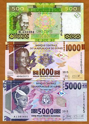 SET Guinea, 500;1000;5000 francs, 2015, Pick New, UNC > Redesigned