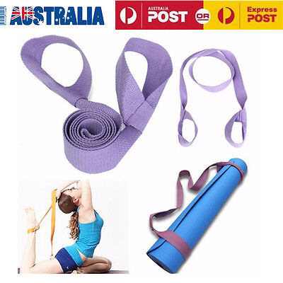 Adjustable Mat Yoga Pilates Mat Sling Strap Exercise Stretch Fitness Gym Purple