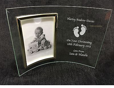 Personalised Engraved Glass Photo Frame - Birth New Baby Christening Gift