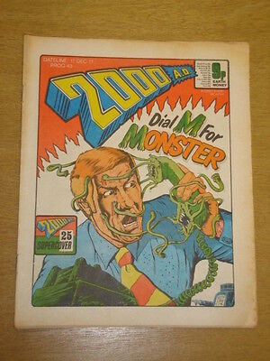 2000Ad #43 British Weekly Comic Judge Dredd Dec 1977 *