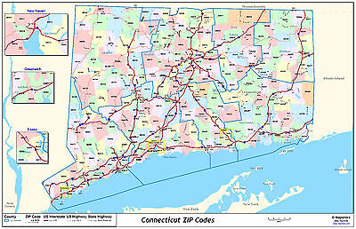 Connecticut State Zipcode Laminated Wall Map