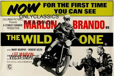 1954 The Wild One Marlon Brando On Triumph Motorcycle Movie Poster Bad Boy Gang