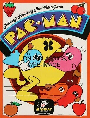 1980 Pac-Man Classic Poster Iconic Pop Culture Video Game By Midway Namco
