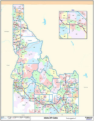 Idaho State Zipcode Laminated Wall Map