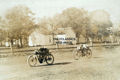 Early Vintage Harley Davidson & Indian Racing Motorcycle Iowa Photo Cycle Racers