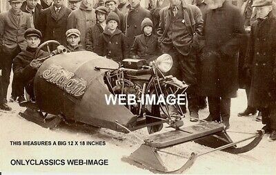1916 Indian V-Twin Power 61 Motorcycle 1St Snowmobile Photo Americana Ingenuity