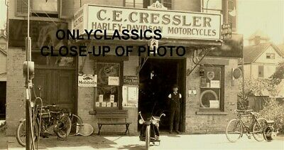 1912 Tydol Gas Station Harley Davidson Motorcycle Dealer Photo Bicycle Americana
