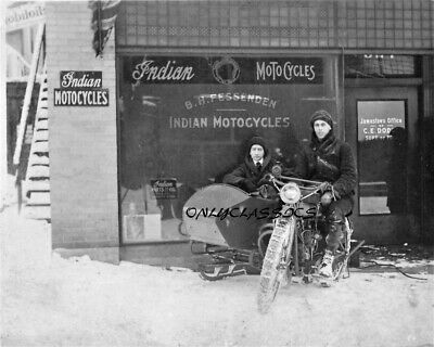1917 Indian Motorcycle Dealership Sidecar Sled Snowmobile Sign Photo Americana