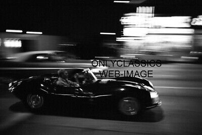 Steve Mcqueen Driving Jaguar @ Night Special Effects Photo Automobilia Americana