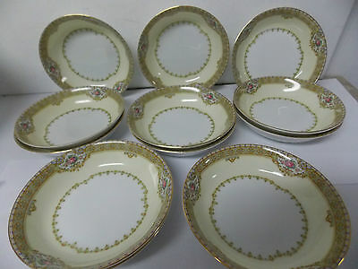 Vintage Meito Fine China Berry Bowls , Set of 12 Japan Annette Pattern 5 1/4 ""