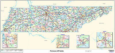 Tennessee State Zipcode Laminated Wall Map