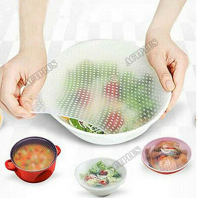 4PCS safety Reusable Silicone Food Wrap Film Seal Cover Stretch Kitchen Tools AC