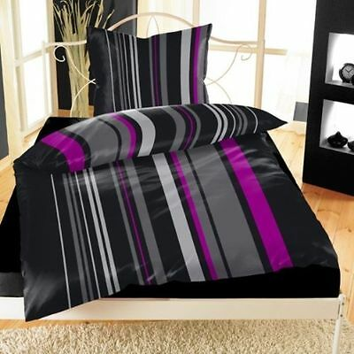2 tlg microfaser bettw sche set modern zebra schwarz grau 135x200 80x80 neu. Black Bedroom Furniture Sets. Home Design Ideas