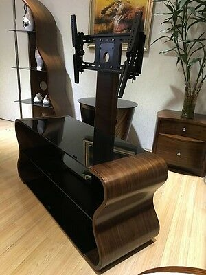 """Universal TV Stand with attached Bracket for 32"""" - 65"""" TV's Wooden + Black Glass"""