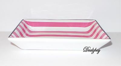 Victoria's Secret Pink and White Striped Jewelry and Perfume Tray/Holder (Small)