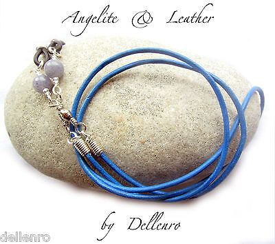 ✫Blue Angelite & Leather✫ Eyeglass Glasses Spectacle Chain Holder  Cord