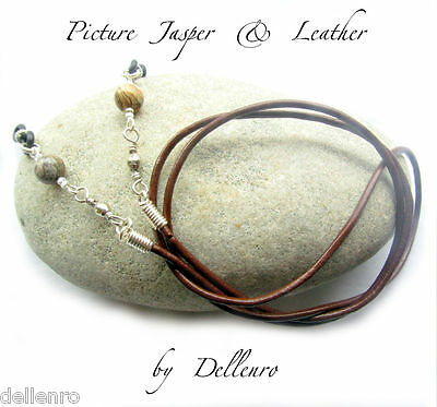 ✫Picture Jasper & Leather✫ Eyeglass Glasses Spectacle Chain Holder  Cord