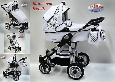 Pram pushchair stroller baby buggy ,baby carriage Avatar 2in1 or 3in1 black dots