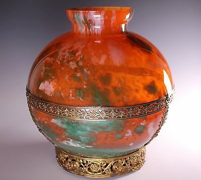 Lorrain France DAUM Glass Company Large Art Deco Metal Mounted Vase