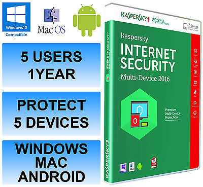 Kaspersky Internet Security Multi Device 2016 5 User 1 Year Antivirus Retail DVD