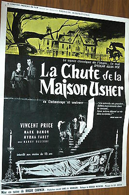 Vincent Price Roger Corman House Of Usher 1960  E.a. Poe Rare Synopsis Poster