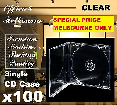 MELBOURNE ONLY Premium 100 x Jewel CD Case Standard Size CLEAR TRANSPARENT