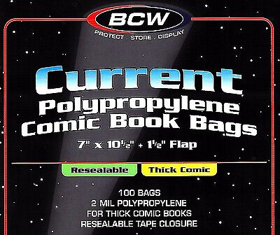 100 BCW Current Resealable THICK Comic Bags and Boards - Archival Book Storage