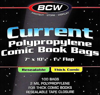 1000 BCW Current Resealable Thick Comic Bags and Boards Archival Storage