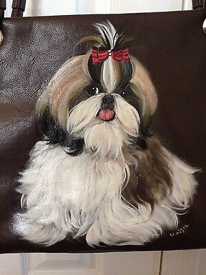 Shih Tzu Hand Painted Handbag Pocketbook - New - BEAUTIFUL!