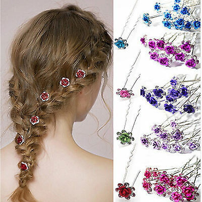 5/10/20pcs Rose Flower Crystal Wedding Party Bridal Prom Star Hair Pin Clips NT