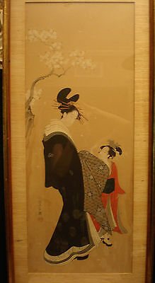 "ARTIST Chobunsai Eishi 鳥文斎 栄之 JAPANESE COLOR PAINTING ON SILK 42 1/2"" HEIGHT"