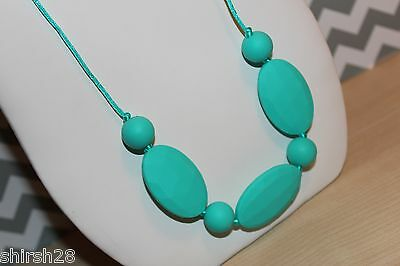 Silicone Baby Teether Teething Necklace Nursing Jewelry Turquoise USA Fast Ship