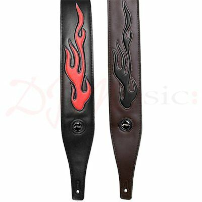 Flame Graphic Leather Guitar Strap