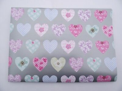 2 Sheets Love Hearts Wrapping Paper, Silver Background Good Quality, Value (107)