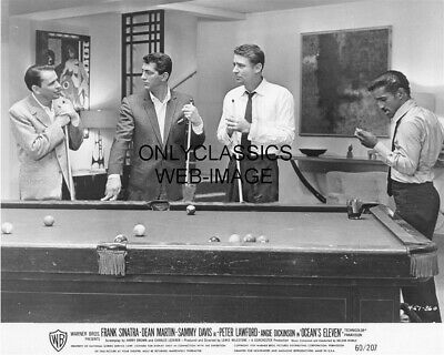 1960 Ocean's Eleven Rat Pack Pool Billiard 8X10 Photo Frank Sinatra Dean Martin