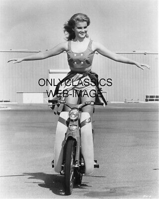 Sexy Hot Ann Margret Rides Honda Motorcycle Skirt Up Daredevil Stunt Photo Pinup