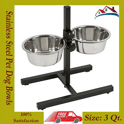 New Heavy Duty 3QT Stainless Steel Double Diner Food Feeding Pet Dog Bowls Stand • EUR 122,52