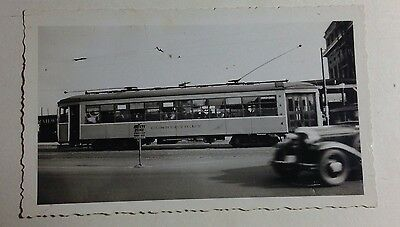 CONNECTICUT ELECTRIC TROLLEY CAR  FINE SNAPSHOT OF THE PAST 1940s #T61