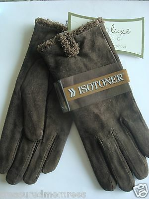 ISO Isotoner Ladies Microsuede Gloves ~ Size Large ~ Brown ~ NWT